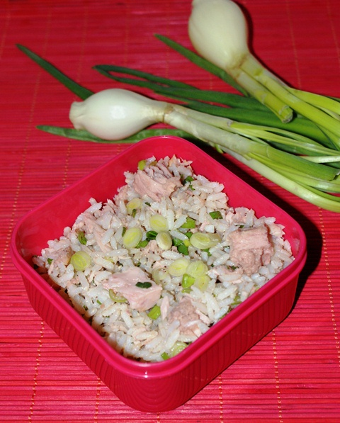 sałatka, czyli tuńczyk, ryż i szalotki