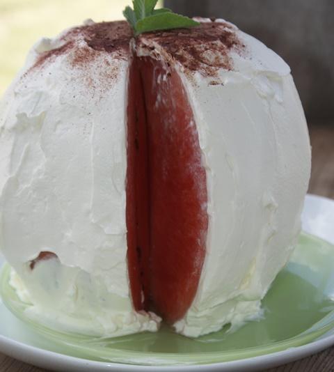 tort arbuzowy, arbuz, deser